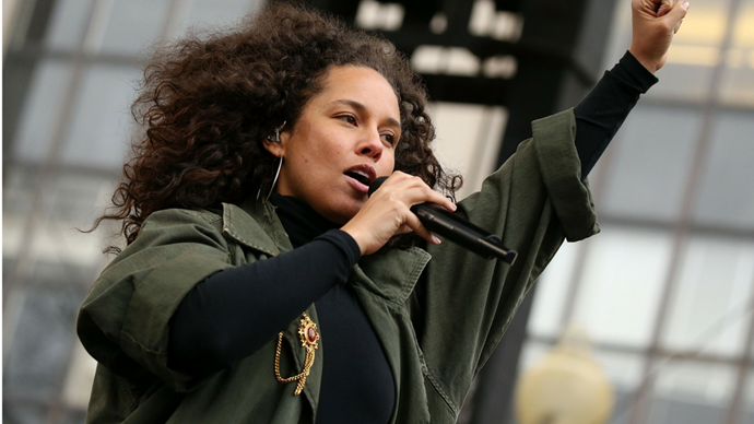 "<p><strong>Alicia Keys</strong> <br><br> ""We will not allow our bodies to be owned and controlled by men in government or any men anywhere for that matter. We will not allow our compassionate souls to get stepped on. We want the best for all Americans. No hate. No bigotry. No Muslim registry. We value education, healthcare and equality."""