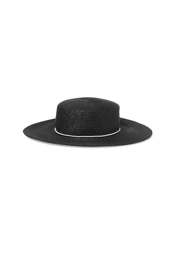 "Sunhat, $510, Eugenia Kim at <a href=""https://www.net-a-porter.com/au/en/product/807693/eugenia_kim/colette-faux-pearl-embellished-hemp-sunhat"">Net-A-Porter</a>."