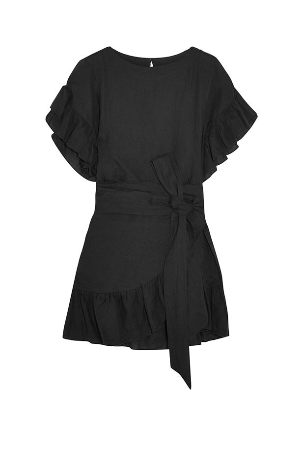 "Dress, $590, Étoile Isabel Marant Isabel at <a href=""https://www.net-a-porter.com/au/en/product/800882/etoile_isabel_marant/delicia-ruffled-linen-mini-dress"">Net-A-Porter</a>."