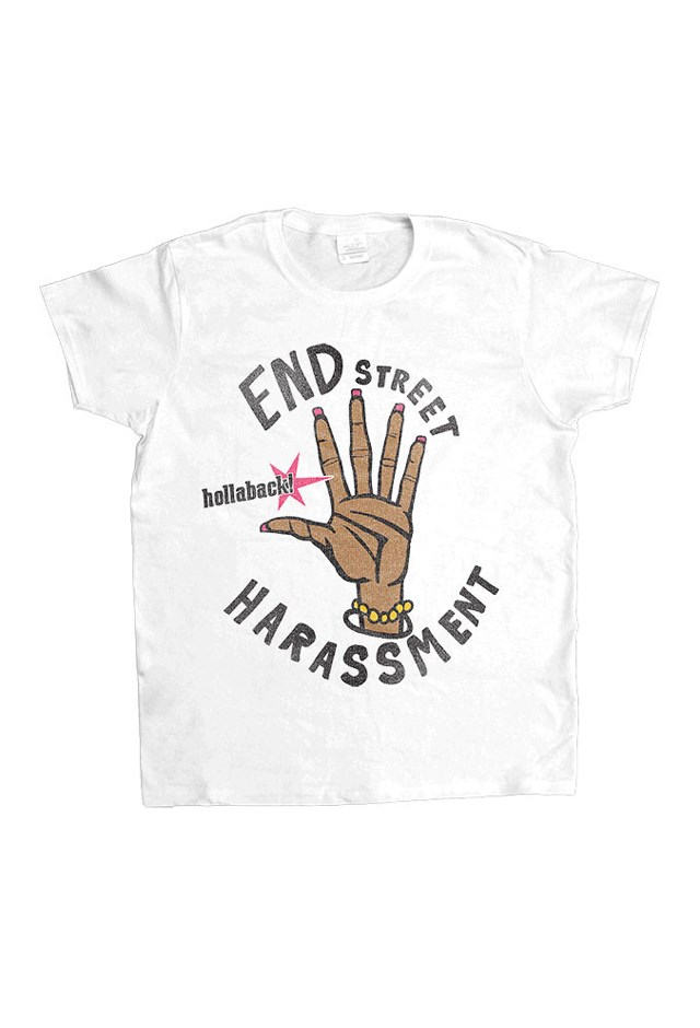 """<p> Tee, approx. $51, <a href=""""http://www.feministapparel.com/collections/nonprofit-hollaback-cats-against-catcalls/products/end-street-harassment-womens-t-shirt"""">Feminist Apparel</a>.<p> <p> Part of the proceeds go to <a href=""""https://www.ihollaback.org/"""">Hollaback!</a>"""
