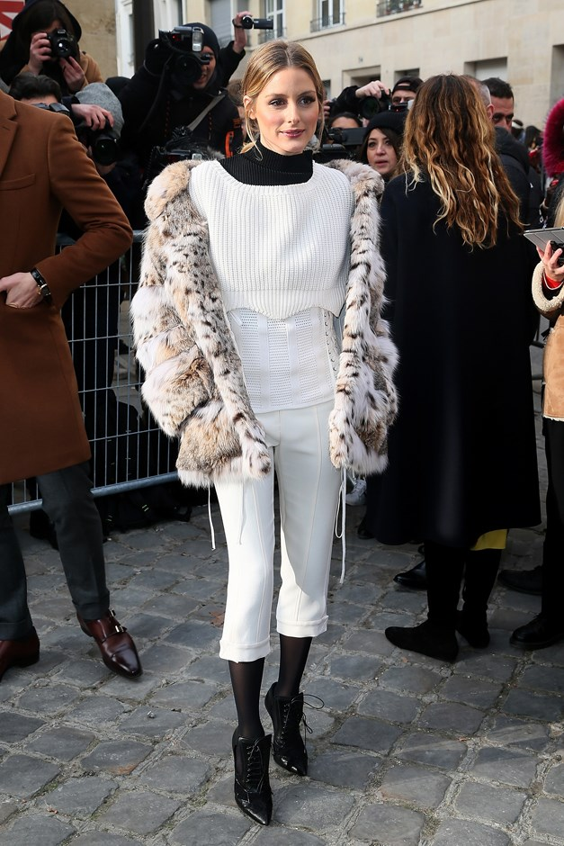 Olivia Palermo stepped out at the Christian Dior Couture show today sporting this pair of white cropped pants.