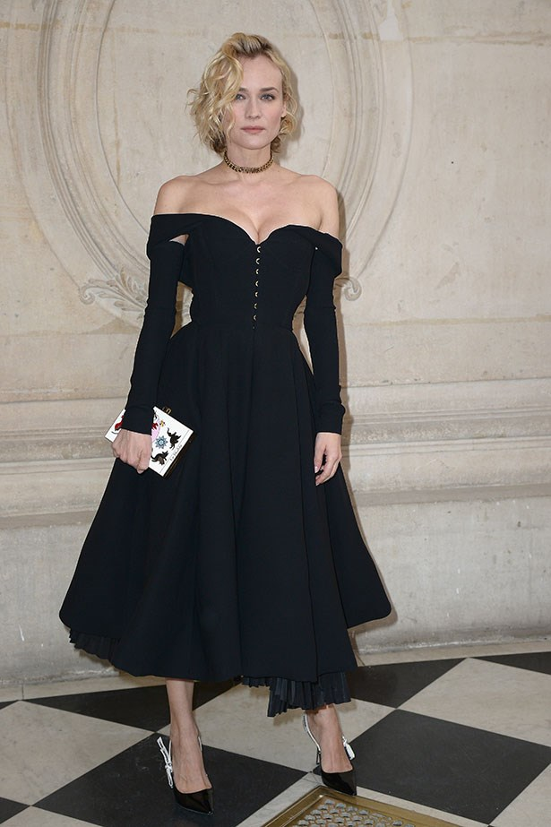 For the Christian Dior haute couture FROW Diane opted for a retro-inspired, off-the-shoulder gown with the designer's iconic A-line silhouette and she absolutely nailed it.