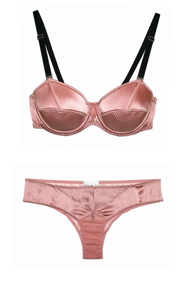 """Fleur Du Mal <br></br> If you're over seeing lace in your underwear drawer and have always fangirled over Madonna's epic cone bra, this retro-inspired brand is for you. Mix old-school sex appeal with modern day fitting and what do you get? One fine set. Bra and briefs, $87 and $45 at <a href=""""https://www.fleurdumal.com/collections/lingerie/products/satin-bullet-bra-rose-pink"""">Bordelle</a>."""
