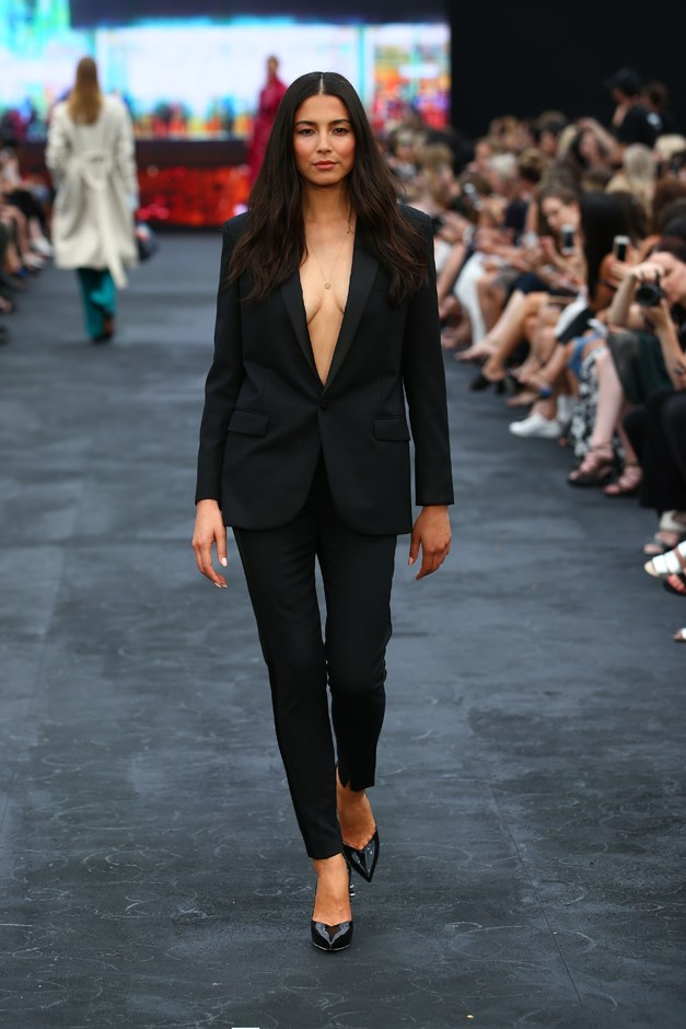 But the attendees weren't just shooting in the dark, subtle skin was also a major trend on the runway, as exemplified by Jessica Gomes in Ellery.