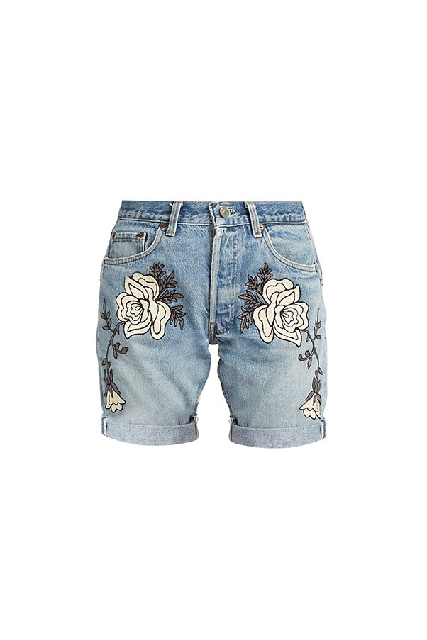 "Bliss and Mischief shorts, $601 at <a href=""http://www.matchesfashion.com/au/products/Bliss-and-Mischief-Shadow-Flower-embroidered-denim-shorts-1071865"">Matches Fashion</a>"