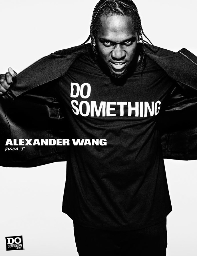 <p>Pusha T was a part of Alexander Wang's Do Something campaign.