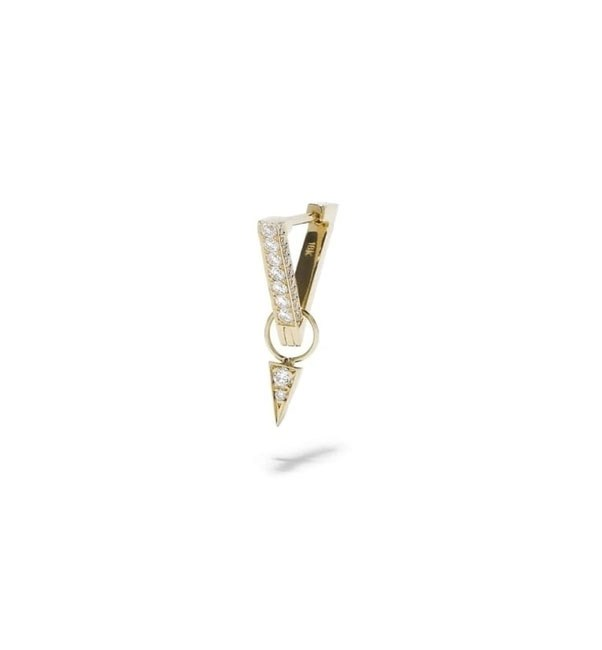 "<p>Azlee earring, approx. $1,957 at <a href=""http://azleejewelry.com/electric-collection/circuit-diamond-v-ear-hug-charm-18k-yellow-gold"">Azlee Jewellery </a>"