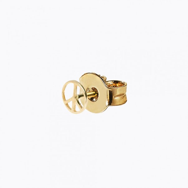"<p>Loquet earring, approx. $203 at <a href=""https://www.loquetlondon.com/shop/earrings/peace/studs-peace-yellowgold14k-peacesign.html"">Loquet</a>"