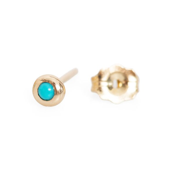 "<p>Claire Kinder earring,  approx. $149 at <a href=""https://www.catbirdnyc.com/jewelry/earrings/pip-stud-turquoise-single.html"">Catbird</a>"