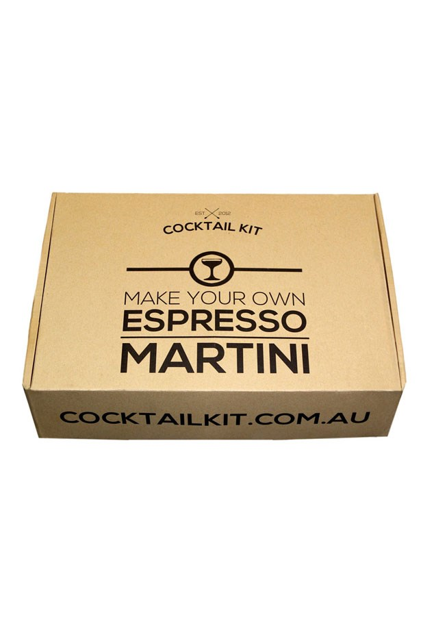 "Espresso Martini Cocktail Kit, $79.95 at <a href=""https://cocktailkit.com.au/collections/cocktail-kits/products/espresso-martini-cocktail-kit"">Cocktail Kit</a>."