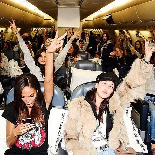 "<strong>The private jet</strong><br><br> Joan Smalls and Bella Hadid<br><br> Instagram: <a href=""https://www.instagram.com/p/BQQptxshf0q/"">@joansmalls</a>"