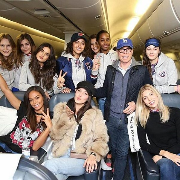"<strong>The private jet</strong><br><br> Models with Tommy Hilfiger<br><br> Instagram: <a href=""https://www.instagram.com/p/BQRBfBSg1hj/?taken-by=tommyhilfiger"">@tommyhilfiger</a>"