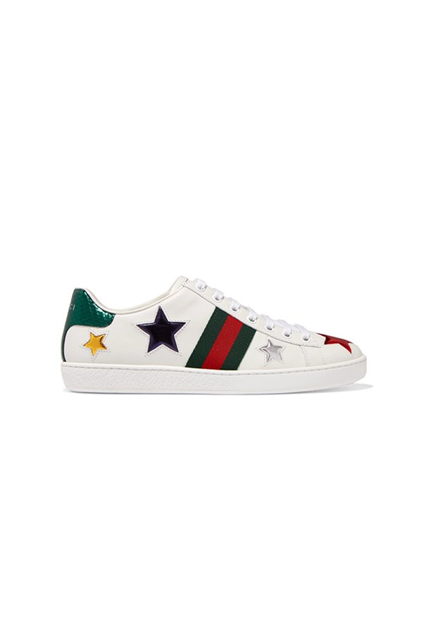 "Sneakers, $675, Gucci at <a href=""https://www.net-a-porter.com/au/en/product/810127/gucci/ace-metallic-ayers-trimmed-leather-sneakers"">Net-a-Porter</a>"