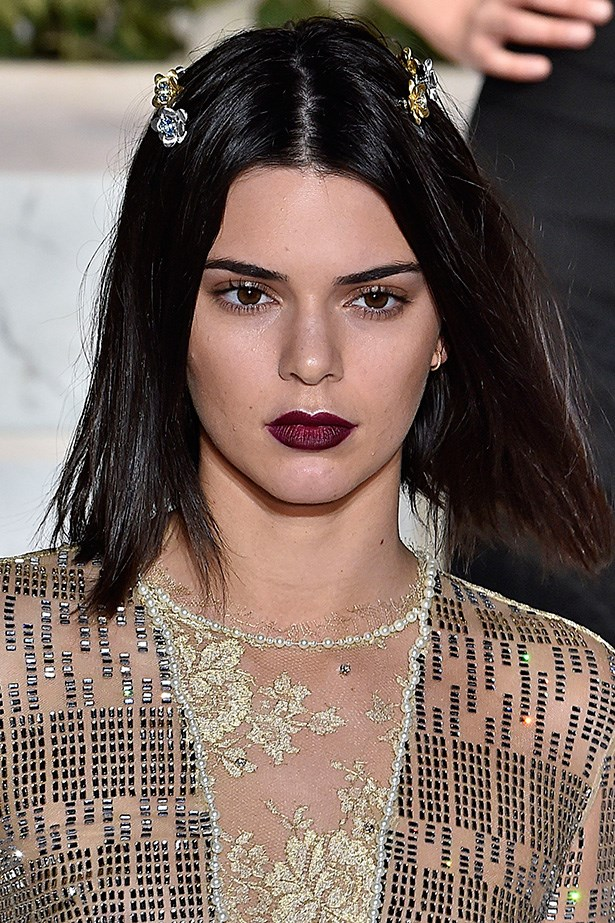 <strong>La Perla</strong> <br> <br> Kendall's deep ombre berry lip, eye glaze and bejeweled lob is a Winter beauty trifecta.