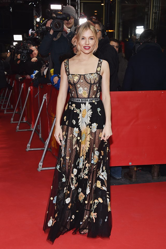 Sienna Miller styled her completely sheer Dior dress with matching Dior boxers. Of course.