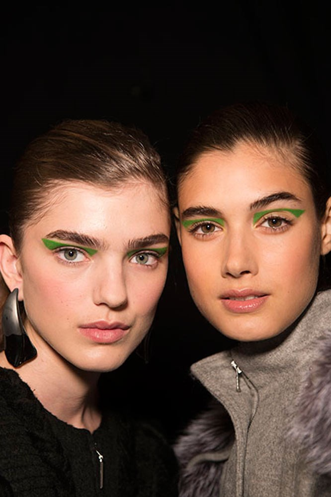 """<strong>Prabal Gurung</strong><br> At Prabal Gurung, graphic shapes were applied to the eye with various MAC Pro Chromacake shades. They're difficult to get your hands on, but Sephora's <a href=""""http://www.sephora.com.au/products/sephora-collection-colorful-eye-shadow/v/276-fresh-limonade"""">Colorful Eye Shadow in 'Fresh Limonade'</a> makes for a more wearable, everyday alternative."""