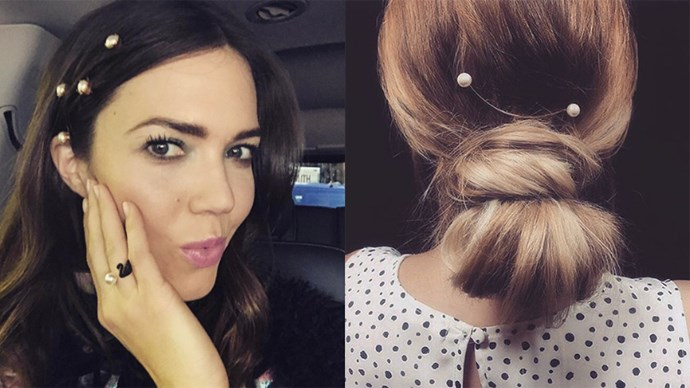 Mandy Moore stepped out in pearl hair pins for the Marc Jacobs NYFW show yesterday, reconfirming what Lauren Conrad suggested (right) at the end of 2016. Tiny pearls are 2017's answer to hair gems. <br> <br> Here, all the ways celebrities are working the trend and where you can buy the pretty vintage hair accessory.