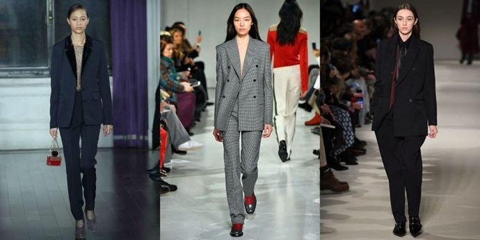 <p><strong>Suits with sheer tops</strong> <p>Designer heavyweights like Jason Wu, Raf Simons for Calvin Klein, and Victoria Beckham are adding feminine touches to the slouchy suit by layering sheer tops underneath. <p><em>Left to right: Jason Wu, Calvin Klein, Victoria Beckham</em>