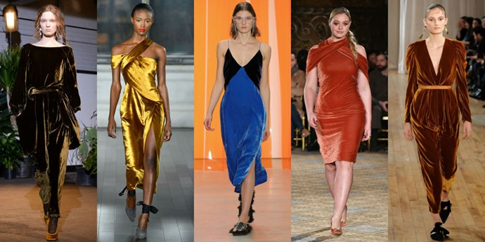 <p><strong>Formal velvet</strong> <p>Designers are still crushing on velvet, this time cutting designs from the rich fabric and making the case for it in formal jewel-tone hues. <p><em>Left to right: Creatures of Comfort, Jason Wu, Dion Lee, Christian Siriano, Ulla Johnson</em>