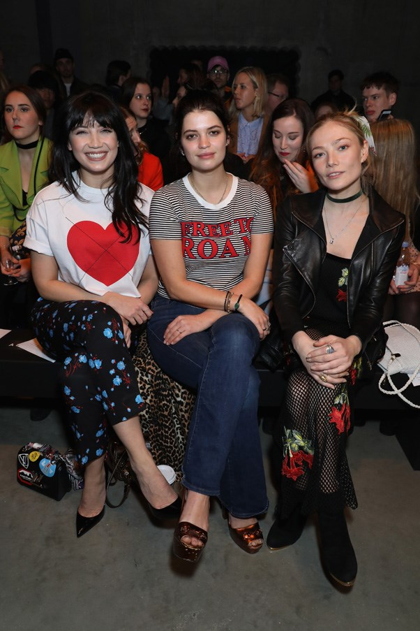 Daisy Lowe, Pixie Geldof and Clara Paget at House of Holland