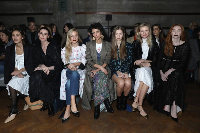 Alexa Chung, Erin O'Connor, Kate Foley, Yasmin Sewell, a guest, Candice Lake and Eleanor Tomlinson at Emilia Wickstead