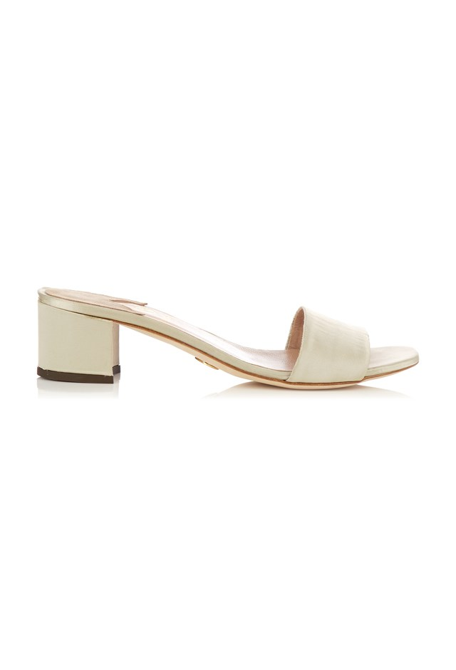 "<p> <strong>For going to Sunday brunch with your ladies at that place with the cute barista</strong><p> <p> Mules, $216, <a href=""http://www.matchesfashion.com/products/Brother-Vellies-Solt-satin-block-heel-mules--1063398"">Brother Vellies at matchesfashion.com. </a>"