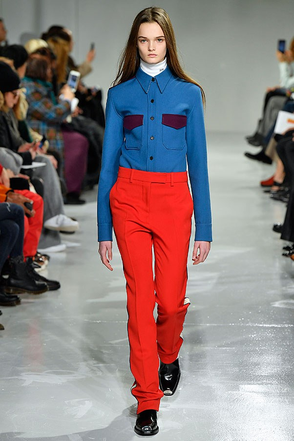 Crimson and blue at Calvin Klein.
