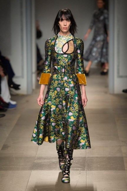 <p> <strong>Erdem</strong><p> <p> Erdem referenced the Ottoman Empire, old photographs of sultans, traditional folk costume and his own Turkish heritage in a show that was magical from the very first look (worn here by Jamie Bochert), and made more so by the need-now lace-up boots.