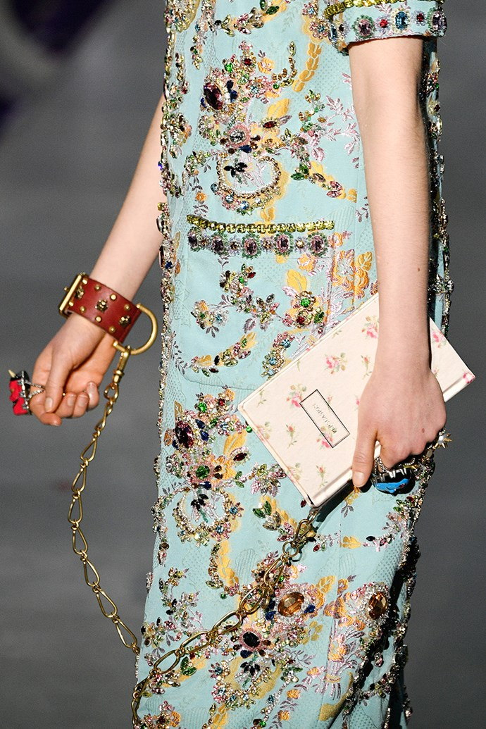 Handcuff bags at Gucci.