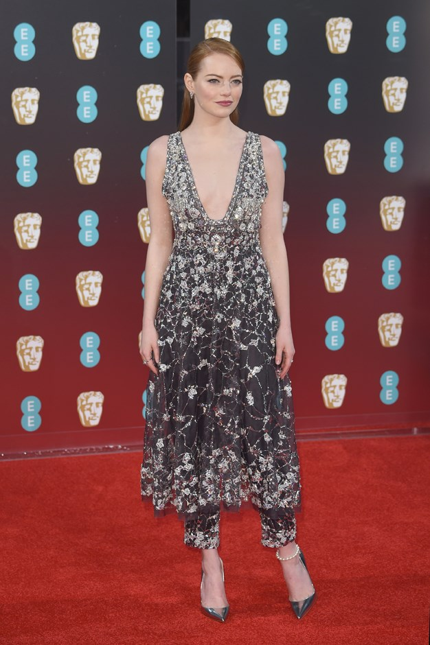 For the BAFTAs in freezing London, Emma picked this Chanel pants-and-dress combo.
