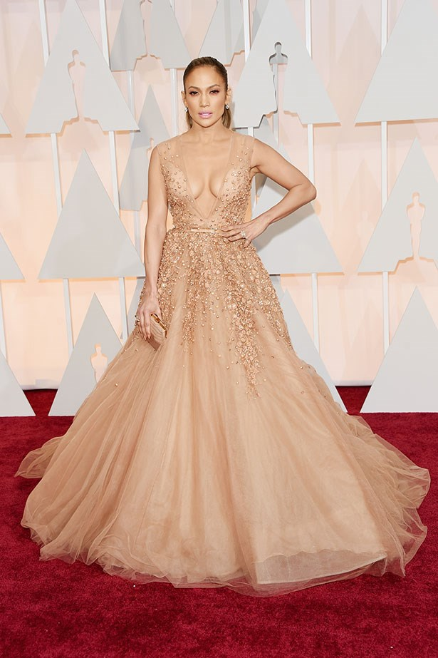 <strong>Jennifer Lopez, 2015</strong><br></br> Jennifer Lopez had a real-life princess moment in this exploding blush tulle Elie Saab number, dripping in intricate bead detailing.
