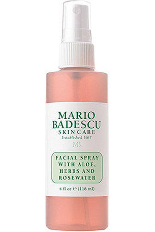 "Mario Badescu Facial Spray with Aloe Herbs and Rosewater, $7, at <a href=""https://www.amazon.com/dp/B002LC9OES/?smid=ATVPDKIKX0DER&tag=rewardstyle-20&linkCode=df0&creative=395093&creativeASIN=B002LC9OES&ascsubtag=tivGZ4A0PR-~9EWAU--2938987079&th=1"">Amazon</a>"
