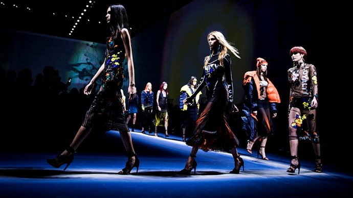 <p>Versace just used the Milan fashion week runway to make a serious political statement, with words like 'equality', 'unity', 'love' and more emblazoned on its autumn/winter 2017 collection.