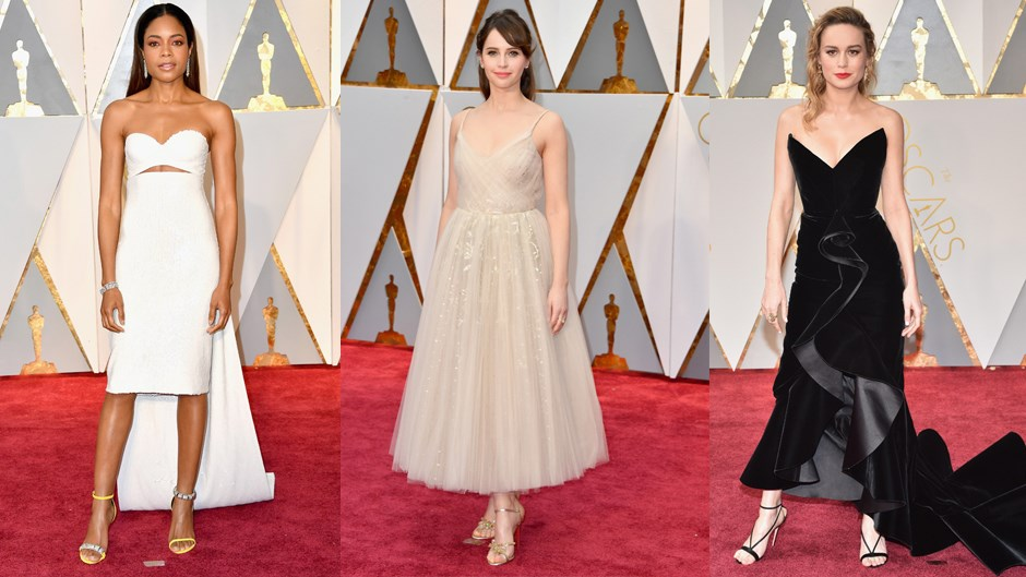 Shorter dresses, and dresses with high-low hems, got their moment in the spotlight on the red carpet. This trend, which we are calling 'showing off the ankles', was put into play by Felicity Jones in sparkling Dior and Brie Larson in Oscar de la Renta.
