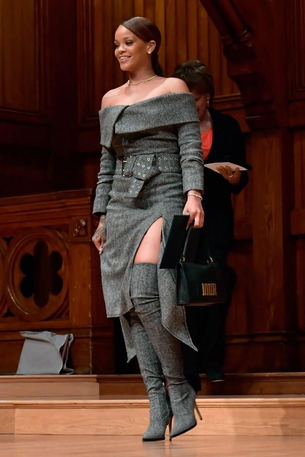 Rihanna accepted Harvard's Humanitarian of the Year Award yesterday in dark grey Monse. Of course.