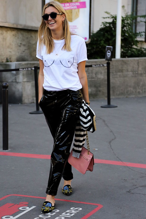 <strong>2. Invest In A Pair Of Patent Leather Pants</strong> <br></br> Take style cues from fashion month's street style set by opting for this year's edgy statement pant: the wet-look trouser. The best part? These glossy babies won't let pesky raindrops dampen your mood, or your legs.
