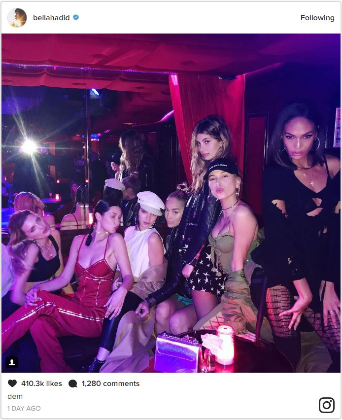 bella hadid kendall jenner and hailey baldwin went to a parisian strip club last night elle. Black Bedroom Furniture Sets. Home Design Ideas