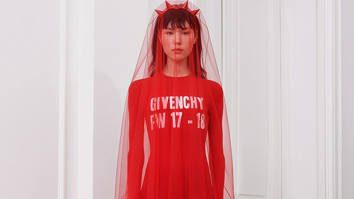"Riccardo Tisci presented an all-red autumn/winter 2017 collection at Paris fashion week, which we can't help but wonder might be a nod of support to the <a href=""http://www.elle.com.au/news/zeitgeist/2017/3/how-to-join-in-a-day-without-woman-australia/"">#ADayWithoutAWoman</a> movement. See for yourself."