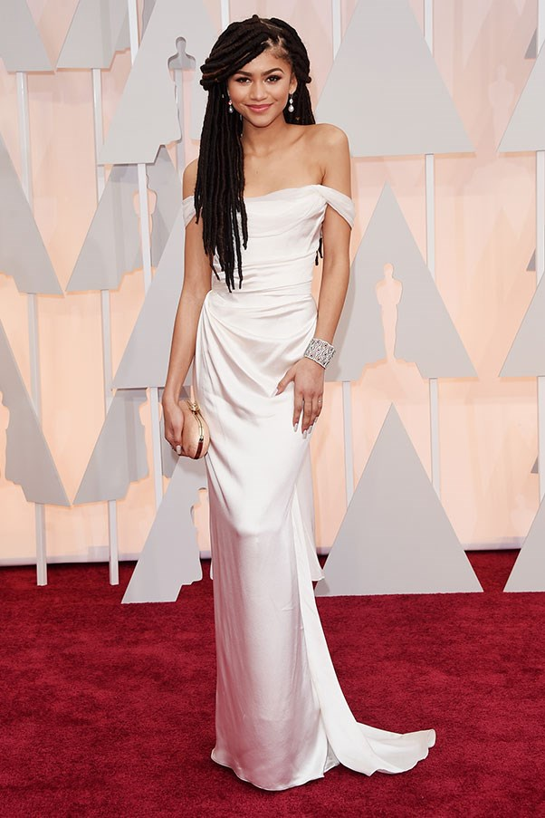 In Vivienne Westwood at the Oscars, February 2015.