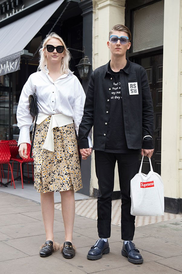 A couple at London fashion week.