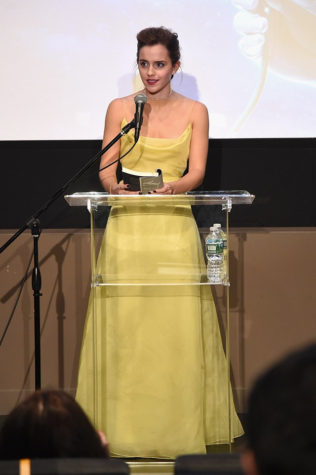She's done the blue ball gown, and the shining silver one, so it seems only fitting that Emma don a dress in 'Belle yellow' at one point during the press tour. This Christian Dior Haute Couture confection fits the bill perfectly.
