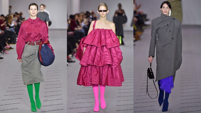 <p><em>Balenciaga</em><p> With a retrospective just opened in Paris and one about to launch at the V&A London in May, it was timely that fashion's current wunderkind Demna Gvasalia should look to the past for inspiration, reissuing nine Balenciaga couture dresses to mark 100 years of the house. While he remained true to Cristóbal Balenciaga's designs of the 1950s, the addition of shocking stocking boots, full-blown bags and cool-girl eyewear brought the dresses crashing into the now.