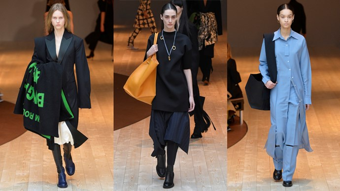 <p><em>Céline</em><p> This tunic and skirt (middle), those boots, the necklace and THAT bag! Sign. Us. Up.