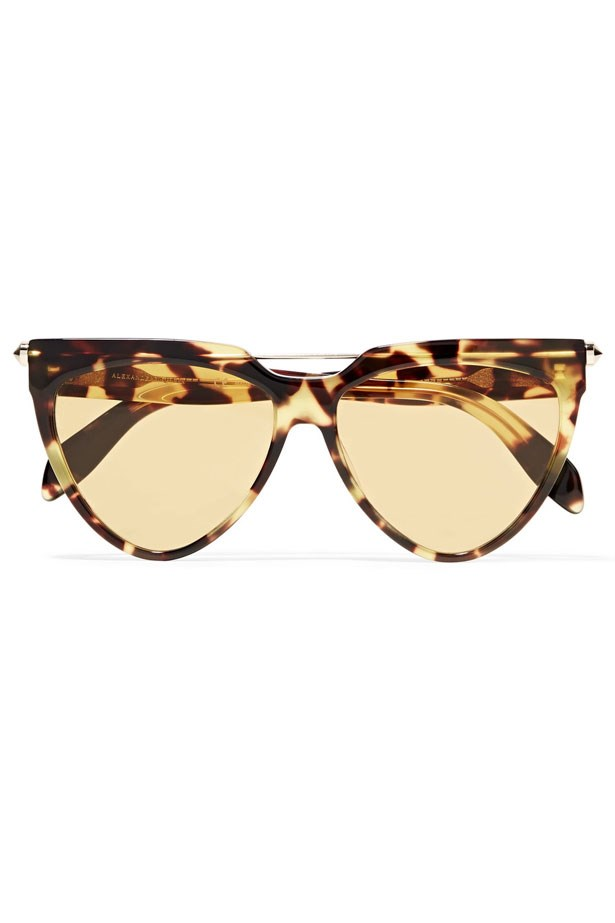 """Sunglasses, $419, Alexander McQueen from <a href=""""https://www.net-a-porter.com/au/en/product/886111/alexander_mcqueen/d-frame-tortoiseshell-acetate-and-gold-tone-sunglasses"""">Net-A-Porter</a>."""