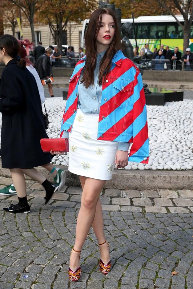 In striped Miu Miu.