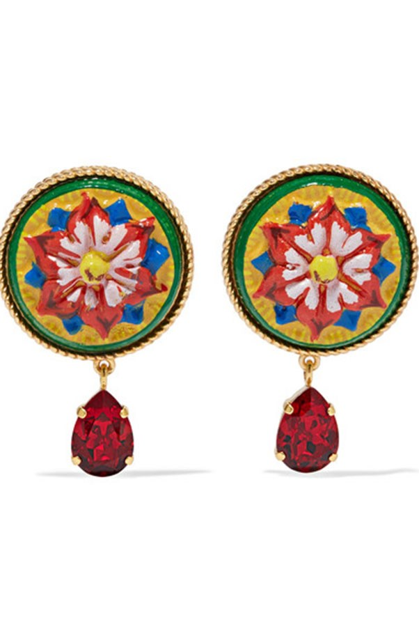 "<p>Dolce & Gabbana earrings, $575 at <a href=""https://www.net-a-porter.com/au/en/product/792683/dolce___gabbana/gold-tone--resin-and-crystal-clip-earrings"">Net-a-Porter</a>"