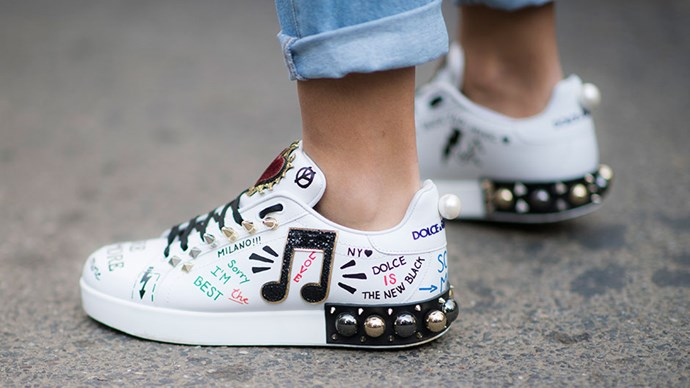 <strong>1. Graffitti </strong> <br><br> If you're a fan of the pristine white sneaker look, this may not be for you. How? Grab a sharpie, a couple of quirky patches and personalise your kicks. Nobody can pretend they picked yours up by accident again.