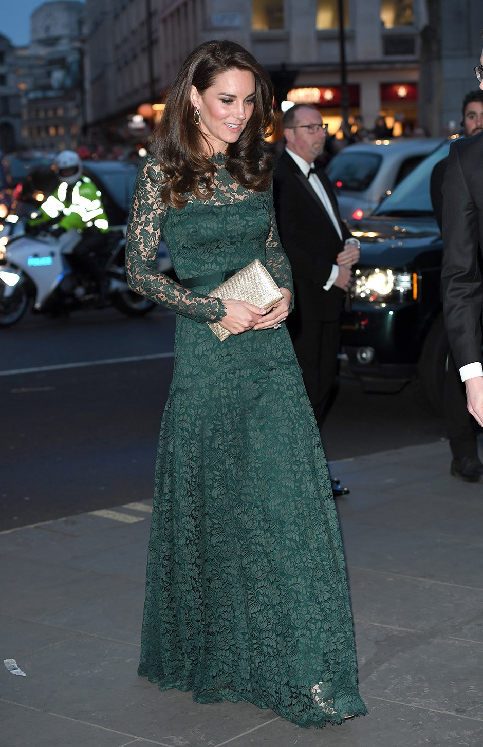 Kate attended an event at London's National Portrait Gallery wearing this forest green Temperley London lace gown.