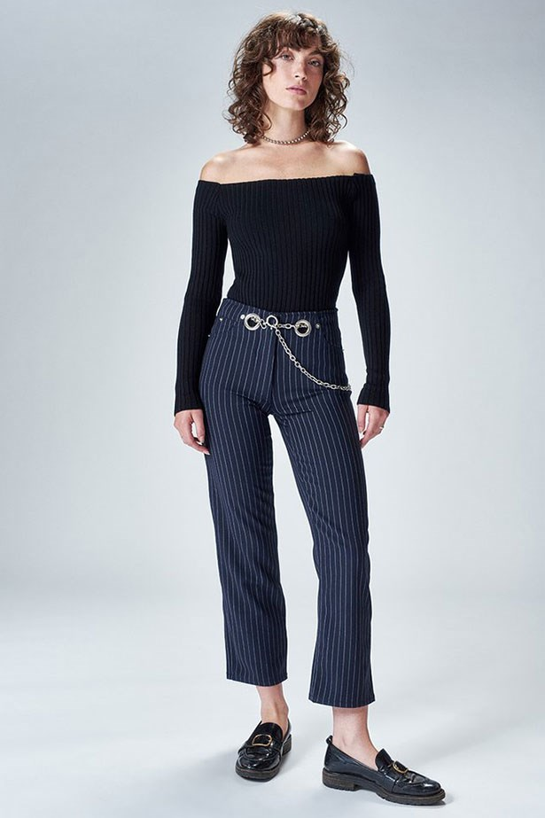 "Tommy Trousers, $425 (approx) from <a href=""https://miaouxx.com/collections/denim/products/brigitte-jean-pinstripe"">Miaou</a>"