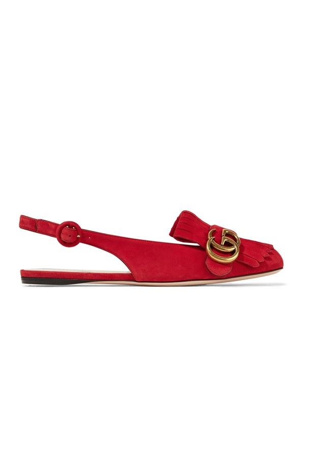 "Flats, $770, Gucci at <a href=""https://www.net-a-porter.com/au/en/product/800482/gucci/marmont-fringed-suede-slingback-flats"">Net-A-Porter</a>"